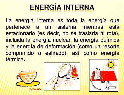 Definición de energía interna termodinámica
